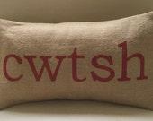 Welsh cwtsh alternative spelling cuddle burlap pillow cushion cover