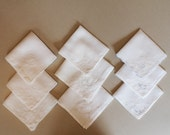 Lot of 9 Vintage White Cotton Embroidered Handkerchiefs