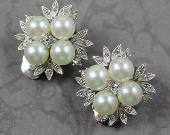 Vintage Rhinestone and Faux Pearl Silver Flower Clip On Earrings
