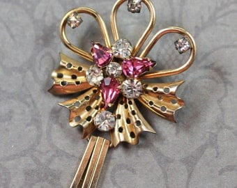 Retro 1940s Phyllis Pink Rhinestone Gold Filled Brooch and Pendant
