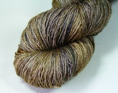 Golden Cosmography - Guinevere BFL silk lace yarn hand dyed gold purple tan