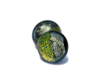 Small Dichroic Earring, Fused Glass Earrings,Yellow and Silver Earrings, Post Earrings, Hypoallergenic,Dichroic Fused Glass Earrings 125