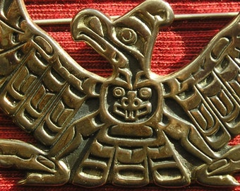 Northwest Coast Sterling Silver Raven and Bear Pin
