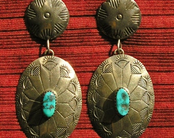 Navajo Stamped Sterling Silver Turquoise dangle Earrings