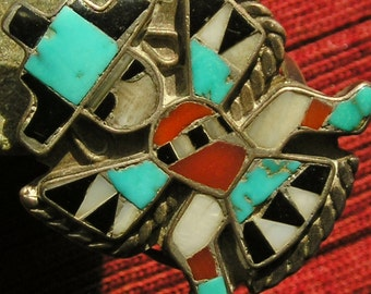Zuni Sterling Silver Turquoise Multi-Stone Inlay Knifewing Ring