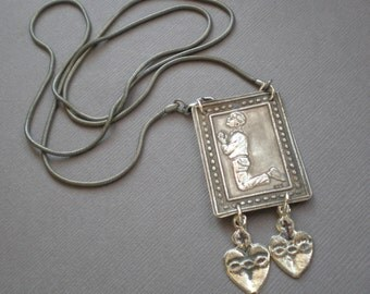Praying Boy Man. Milagro Blessing Necklace. Sterling pendant. GIFT Ex Voto