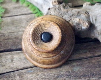 Antique Wooden Door Bell - Wood Call Bell Button - Bakelite Button Door Bell