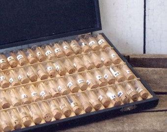 72 Watchmaker Glass Vials in original case - Small Glass Vials - Vintage Watch parts vials - Supply Glass Containers
