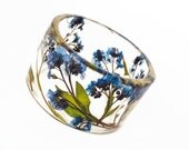 Size Medium Forget Me Nots Botanical Resin Bangle.  Pressed Flowers. Personalized Engraved Jewelry
