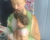 "SOLD Rare Vintage Plaster Statue- ST. Joseph w Jesus Christian Devotional Religious Chalkware 17"""