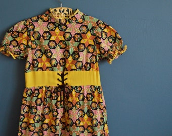 Vintage Girl's 1960s Patchwork Print Maxi Dress - Size 6