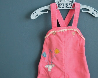 Vintage Baby Girl's Pink Corduroy Overalls with Tulip Appliques - Size 3-6 Months