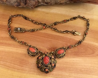 Stunning Austro Hungarian Gold Gilt Silver Natural Red Coral Seed Pearl Floral Enamel Vintage Antique Necklace