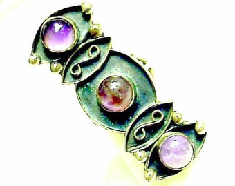 Beautiful Mid Century Mexican Abstract Sterling Silver Genuine Purple Amethyst Vintage Ring Mid Century Jewelry