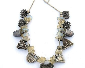 Valentines Lovers SALE Old Tribal Silver Glass and Stone Trade Beads Vintage Antique Necklace