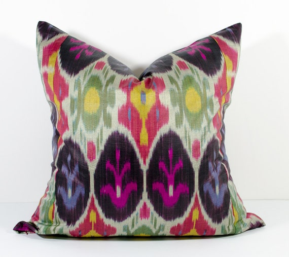 uzbek ikat pink ikat pink ikat pillow pink ikat 18x18 inches