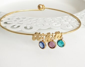 Birthstone Initial Bangle