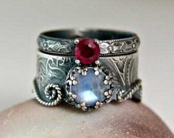 Moonstone Mermaid Ring, Sterling Silver Ruby Wedding Set, Vintage Inspired Engagement Set
