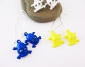 Earrings Skull and Crossbones Acrylic Blue Yellow White Your Choice of Color