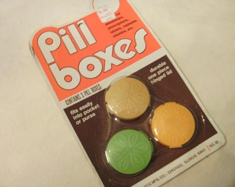 Vintage Pill Boxes  Three different Colored Plastic In Original Package