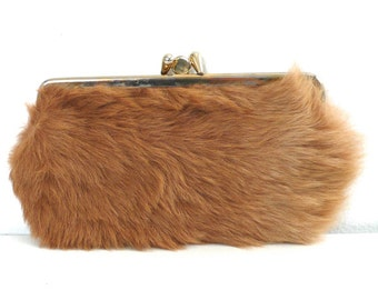 Vintage Brown Fur Pouch