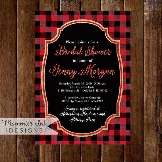 Buffalo Plaid Bridal Shower Invitation Check