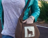 gift for canadian, animal lover gift, brown shoulder bag, Large Shoulder bag, fall purse, winter wolf purse, CarolJoyFashions78, CJF1 RTS