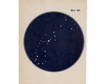 1910 mini constellation figures original antique celestial astronomy print -  map 22