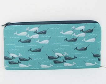 Narwhal Zippered Pencil Pouch, Deep Aqua Ocean, Zip Bag
