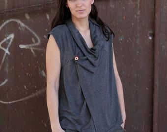 under 50,  Wrap asymmetrical top in grey