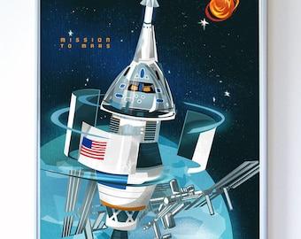 13 x 17 Mars Mission Orion, SLS Science Poster Art Print, Original Illustration - Stellar Science Series™