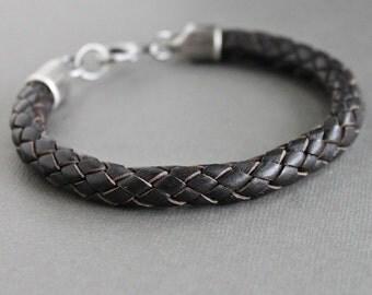 Mens Thick Braid Bracelet, Mens Brown Leather Bracelet, Silver Clasp