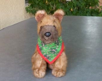 """Dog Bandana, Pet Scarf, Candy Cane Plaid Fancy Bandanchy with red pom pom trim - Size XS: 10"""" to 12"""" neck"""