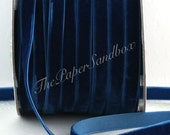 "Sapphire Blue Velvet Ribbon, Royal Blue Velvet Ribbon, 3/8"" wide by the yard, Winter Wedding, Gift Wrapping, Invitations, Party Supplies"
