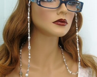 Silver Beaded Eyeglass Chain, Eyeglass Necklace, Beaded Eyeglass Chain Necklace, Sunglasses Chain, Pearl Beaded Glasses Chain, Silver, EH037