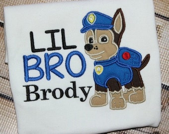 Personalized Big Brother Little Brother Sibling Shirt Paw Patrol Chase