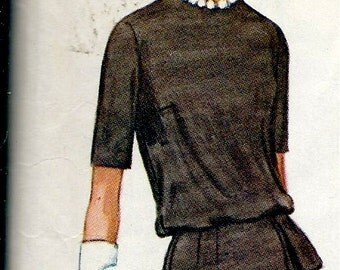 """1960's McCall's Pattern No. 6046 Two Piece Dress with Slim or Pleated Skirt , Overblouse and Skirt  Bust 33"""""""