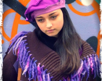 Purple Upcycled Recycled Merino wool Beret Hat                          Remade in England UK