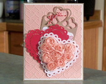 "Handmade Stampin Up Valentine's Day Card - 5 1/2"" x 4 1/4"" - Doily Hearts Pocket with Removable Tag & Hand Stamped Message"
