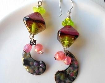 Lampwork Enamel Earrings, Rustic Handmade Earrings, Boho Wearable Art Jewelry, Handmade Long Dangle Earrings with Handmade Beads