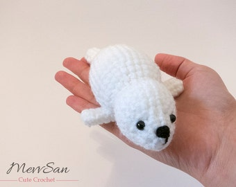MADE to ORDER - Amigurumi Seal Baby - baby seal crochet plush, amigurumi baby fur seal softie, crochet seal plush, winter crochet animal