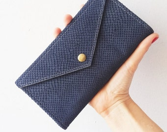 ON SALE blue snake texture  wallet , leather  women wallet , women purse
