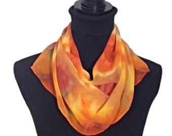 Yellow Orange Hand Tie Dyed Silk Scarf 11x60 in * 27.94x152.4 cm