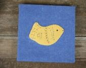 hand-dyed square indigo hand-bound journal with wool felt animal: bird by kata golda