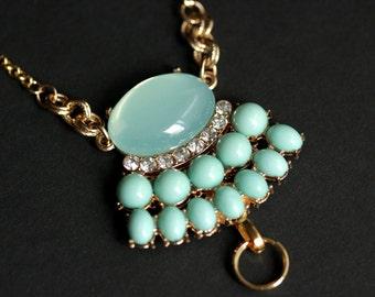 Aqua Blue Lanyard. Badge Lanyard. Art Nouveau Lanyard. Gold Lanyard. Crystal Lanyard Necklace. ID Badge Holder. Mint Blue Badge Necklace.