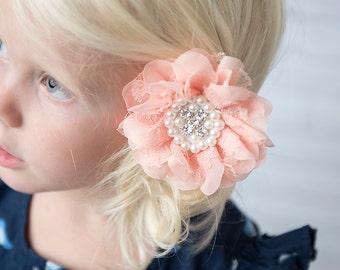 peach hair clip, pearl chiffon hair clip, lace flower clip, girl hair clip, wedding flower girl gift, birthday gift, flower hair accessory