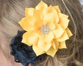 yellow hair clip, navy hair clip, girl hair clip, flower hair clip, bridal hair accessories, girl birthday gift, toddler hair clip, baby