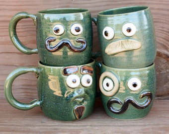 Mustache Mug Set. Mustache Styles Coffee Cups. Handlebar Goatee Monocle Painters Brush. Mustache Love Coffee Cup Set of Four. Frosty Green.
