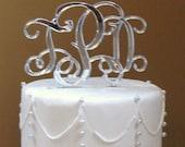 ON SALE Vine Monogram Cake Topper Wedding Cake Topper Connected Letters