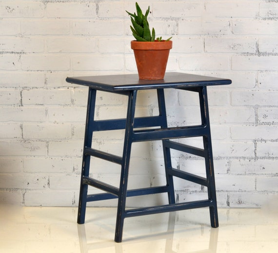 wooden side table with vintage navy blue finish in stock. Black Bedroom Furniture Sets. Home Design Ideas